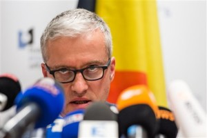 """Spokesman for the Belgian Federal Prosecutors Office, Thierry Werts addresses the media during a press conference in Brussels on Friday. The prosecutor's office confirmed a fugitive suspect in the Nov. 13 Paris attacks was arrested in Belgium on Friday, after a raid Belgian authorities said was linked to the deadly March 22 Brussels bombings. The suspect, Mohamed Abrini, is believed to be the mysterious """"man in the hat"""" who escaped the double bombing at Brussels airport, but further investigation is needed to determine Abrini is the third suspect of the airport attack. Brussels, Belgium, April 8, 2016 