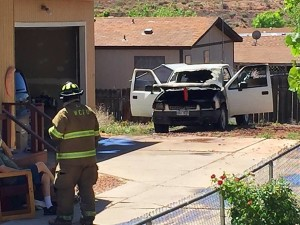 A truck burst into flames at a residence located on the 300 East block of Telegraph Street, Washington City, Utah, April 18, 2016 | Photo by Kimberly Scott, St. George News