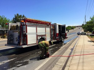 Firefighters responded to a vehicle fire on the 300 East block of Telegraph Street, Washington City, Utah, April 18, 2016 | Photo by Kimberly Scott, St. George News