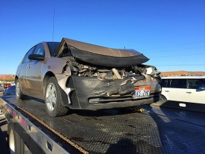 A wheelbarrow and debris on northbound Interstate 15, near milepost 12, resulted in a two-vehicle collision on the freeway, Washington City, Utah, April 6, 2016 | Photo by Kimberly Scott, St. George News