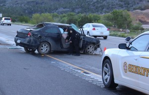 A Colorado runaway teen rolled her car on Interstate 15 early Sunday morning. Washington County, Utah, May 1, 2016 | Photo by Ric Wayman, St. George News