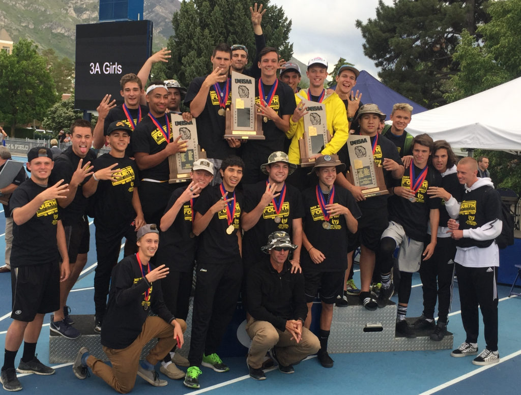 For the fourth year in a row, Desert Hills' boys track team won the 3A title, UHSAA state track and field championships, Provo, Utah, May 21, 2016 | Photo by Wes Swaney, for the St. George News