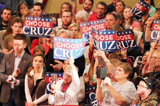 Members of the audience show their support for Republican presidential candidate Sen. Ted Cruz in La Porte, Ind., on Sunday, May 1, 2016. (Bob Wellinski/The LaPorte Herald-Argus via AP)