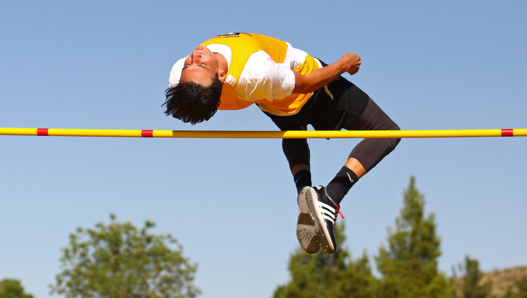 Desert Hills' Ryan Eror competes in the high Jump, Region 9 Track and Field Championships, May 12, 2016, | Photo by Robert Hoppie, ASPpix.com, St. George News