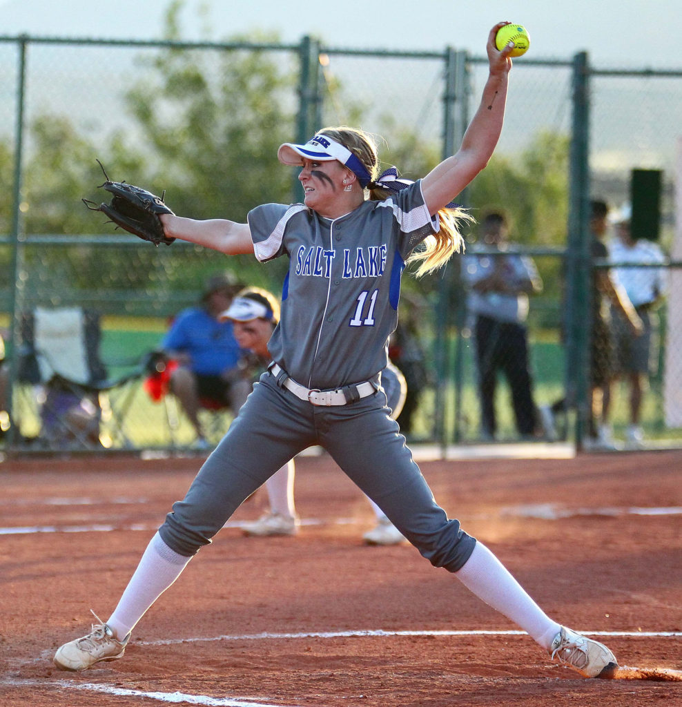 Salt Lake vs. Spartanburg Methodist, SC, NJCAA Division I Softball National Championship Tournament, May 18, 2016, | Photo by Robert Hoppie, ASPpix.com, St. George News