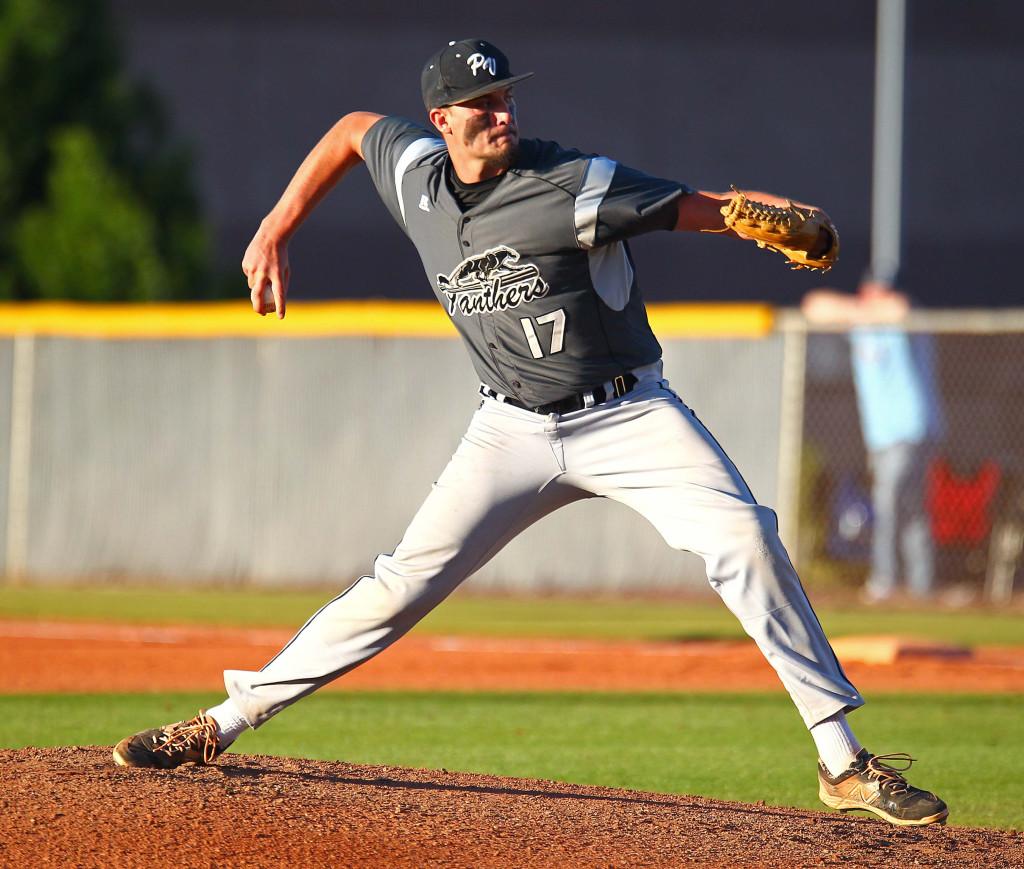 Pine View's Dakota Donovan (17), Desert Hills vs. Pine View, Baseball, May 3, 2016, | Photo by Robert Hoppie, ASPpix.com, St. George News