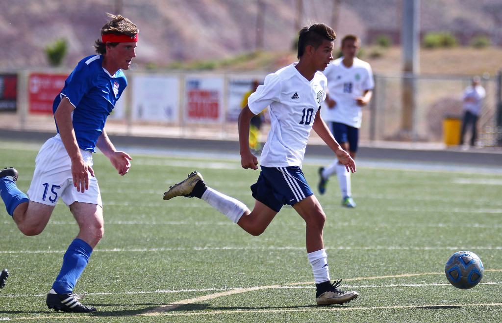 Snow Canyon's Angel Muniz (10), Snow Canyon vs. Richfield, Soccer, May 5, 2016, | Photo by Robert Hoppie, ASPpix.com, St. George News