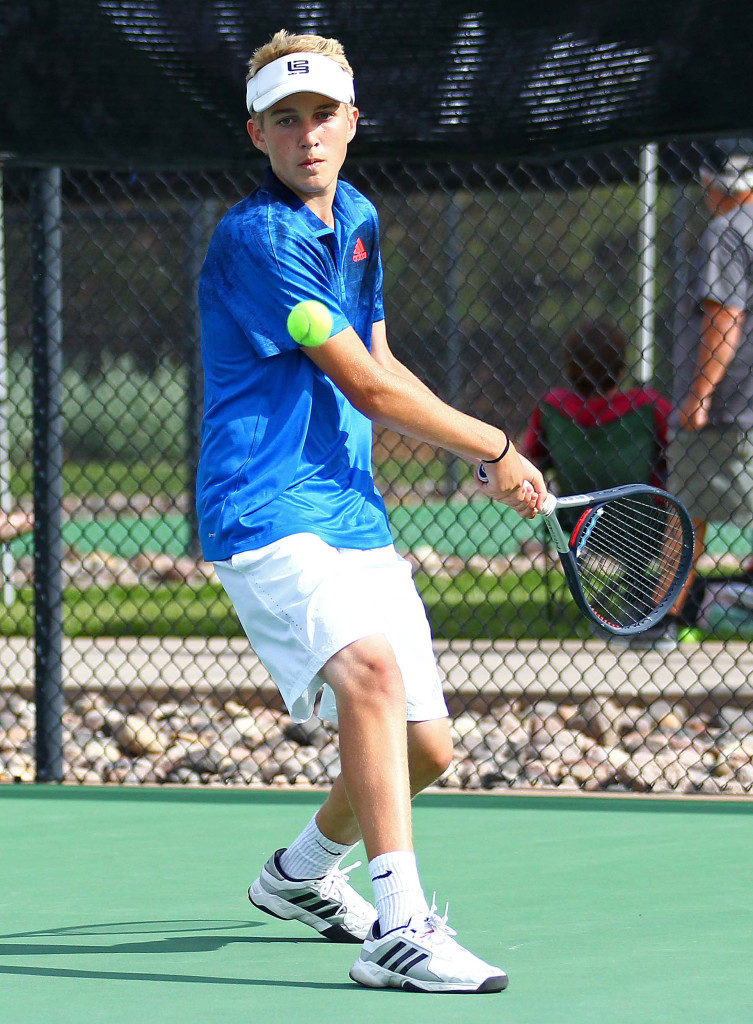 Dixie's Carsen Bottema, 3A State Tennis Championships, Boys Tennis, May 14, 2016, | Photo by Robert Hoppie, ASPpix.com, St. George News