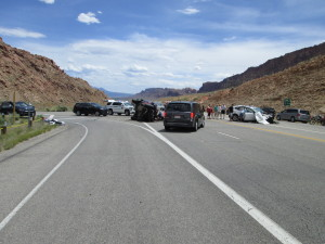 A teenage girl from Texas died Saturday as the result of a two-vehicle crash near the entrance to Arches National Park, Moab, Utah, May 14, 2016 | Photo courtesy of Utah Highway Patrol, St. George News