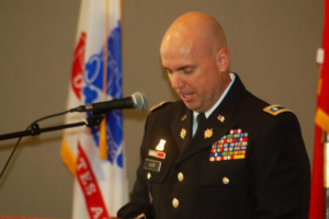 Lt. Col. Russell Warr speaks at the Memorial Day ceremony held at the Southern Utah Veterans Home in Ivins, Utah, May 30, 2016   Photo by Hollie Reina, St. George News