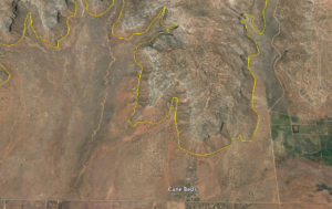 The Cottonwood Point Wilderness Area, outlined in yellow, lies just outside Cane Beds, Arizona   Image courtesy of Google Maps