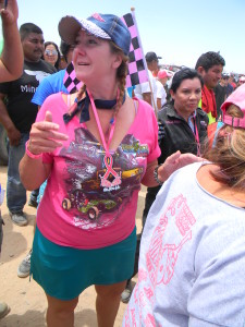 Cara,after being awarded with a 1st Place medal at Racing for Boobs ,Laguna Salada Mexicali, May 2016| Photo by Ed Kociela, St. George News