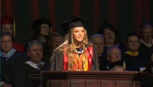 Sarah Folks, baccalaureate valedictorian,at the 105th commencement of Dixie State University, May 6, St. George, Utah | Photo byAustin Peck, St George News