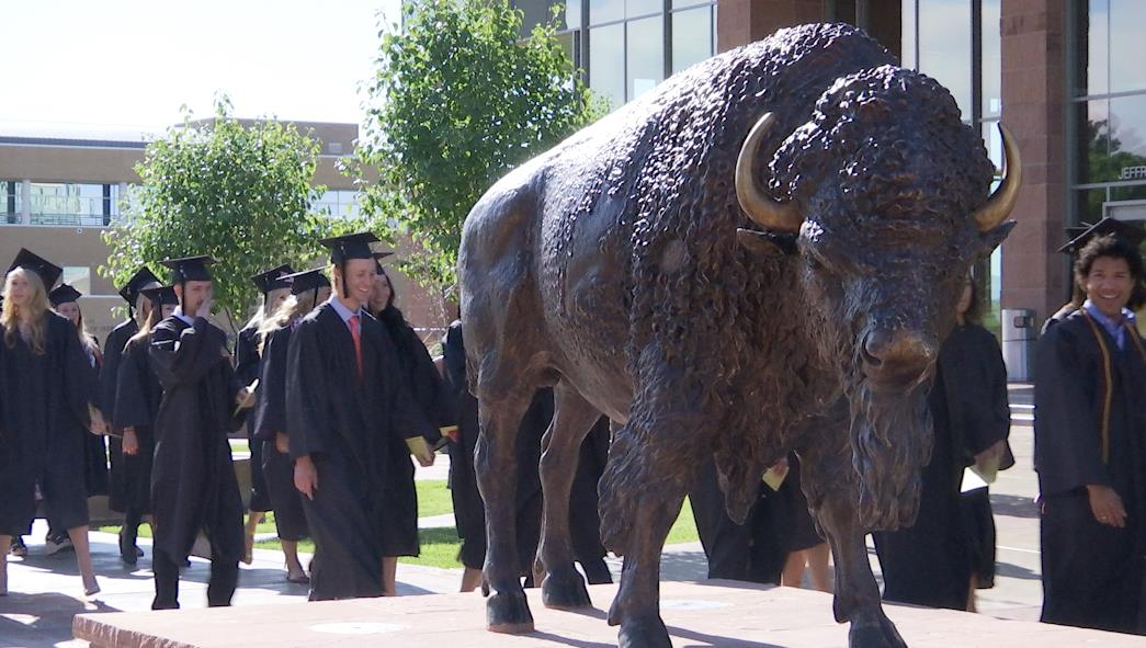"""""""Brooks the Bison"""" statue at Dixie State University. The statue was a gift to the school by the student body, St. George, Utah, May 6, 2016 
