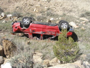 A rollover on Interstate 70 killed five family members who were not wearing seat belts. All five occupants were ejected from the vehicle, Utah, May 11, 2016 | Photo courtesy of Utah Highway Patrol, St. George News