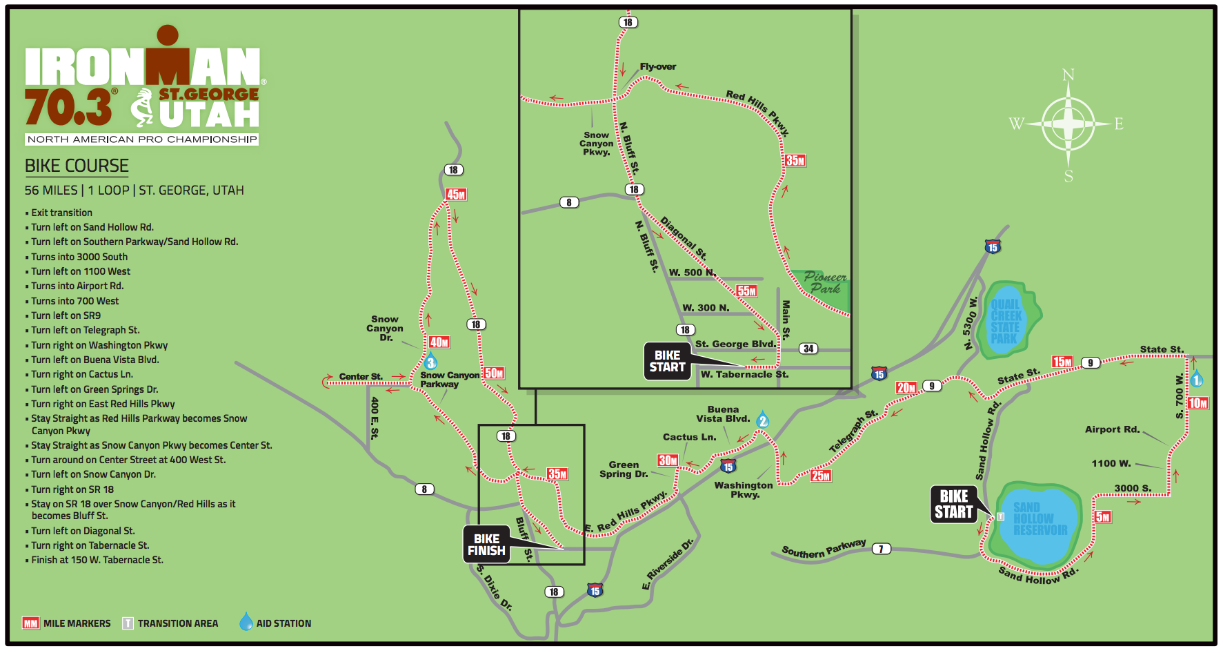 Bike course for Ironman 70.3 St. George | Image courtesy Ironman 70.3 St. George, St. George Utah