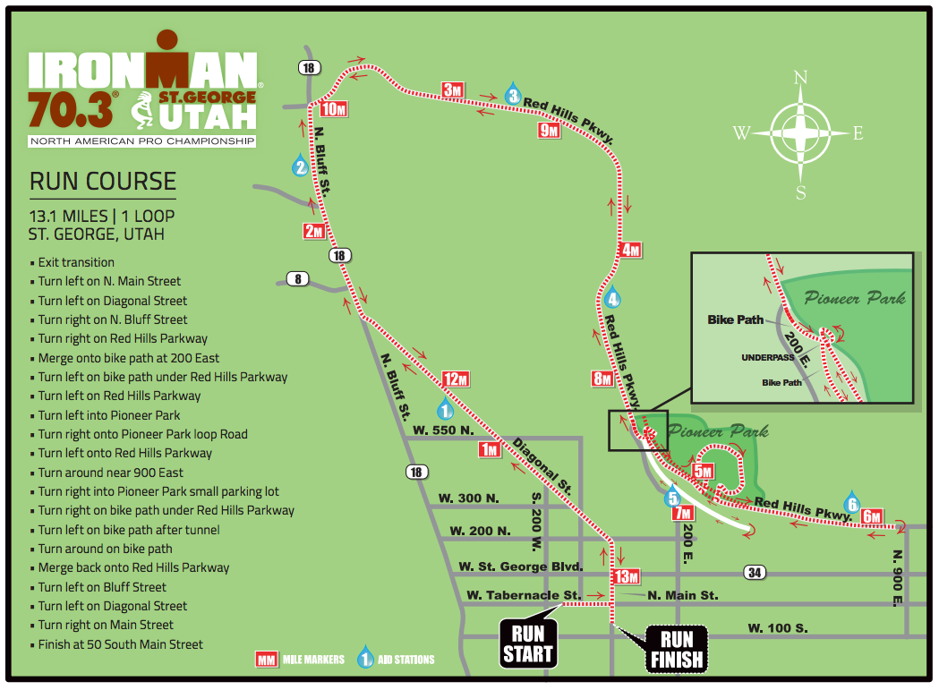 Run course for Ironman 70.3 St. George | Image courtesy Ironman 70.3 St. George, St. George Utah