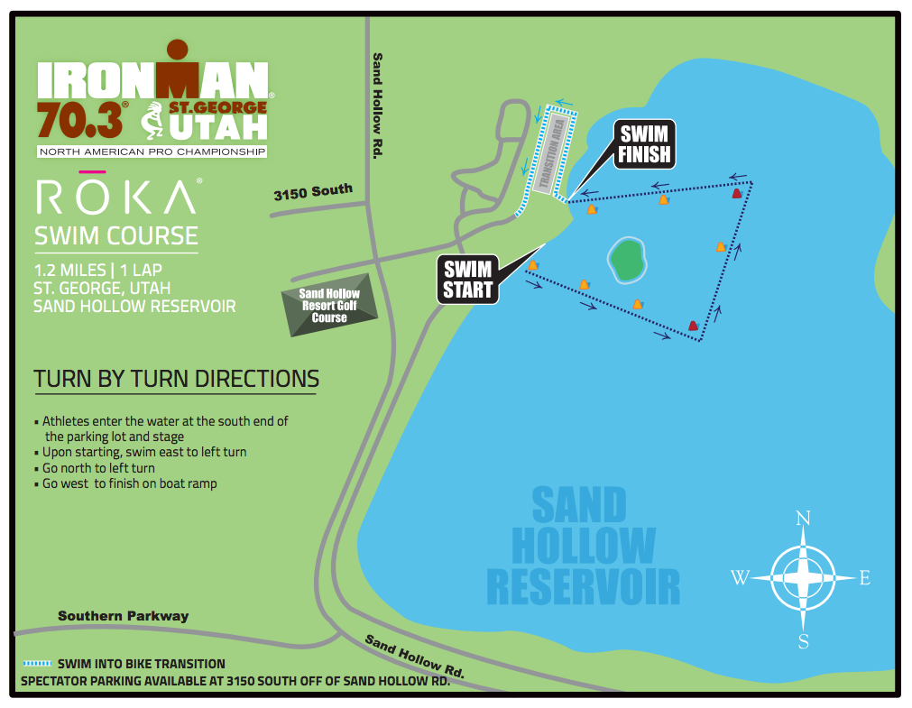 Swim course for Ironman 70.3 St. George | Image courtesy Ironman 70.3 St. George, St. George Utah