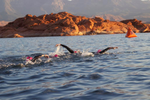 Triathletes compete in the swim portion of the Ironman 70.3 St. George held at Sand Hollow State Park, Hurricane, Utah, May 2, 2015 | Photo courtesy of the St. George Area Sports Commission, St. George News
