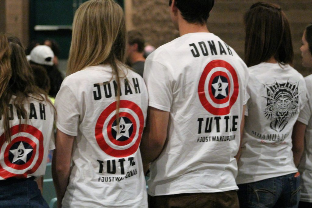 "T-shirts were sold to raise money during ""Wake up Jonah"", fundraising event held in the auditorium at Snow Canyon High School, St. George, Utah, May 21, 2016 