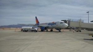 An Allegiant Air flight en route from Mesa, Arizona to Pasco, Washington was forced to divert to St. George Regional Airport when a female passenger began experiencing seizures on Thursday, May 5, 2016 | Photo by Brad Kitchen, St. George News