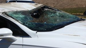 A single vehicle rollover accident on Interstate 15 caused significant damage to a Ford Fusion on Wednesday afternoon, Littlefield, Ariz., May 11, 2016 | Photo by Don Gilman, St. George News