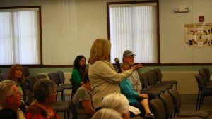 Washington Fields resident Natalie Drake discusses her concerns over the possible construction of the Crimson High School/Middle School complex with the Washington County School District Board in St. George, Utah, May 11, 2016 | Photo by Don Gilman, St. George News