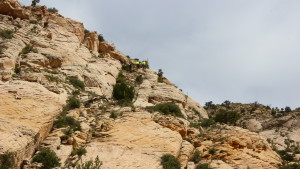 The high-angle rescue team (top-center) attend to a hiker with a broken ankle in St. George, Utah, Wednesday, May 18, 2016 | Photo by Don Gilman, St. George News