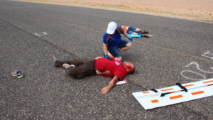 "The Utah Association of Emergency Medical Technicians held a mass casualty training exercise with a controlled explosion injuring 14 ""victims"" who were then treated by emergency responders in St. George, Utah, May 20, 2016 