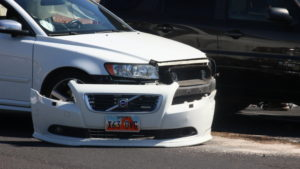 A collision at 1091 N. Bluff St. resulted in both vehicles being towed and a citation being issued for the driver of a white Volvo passenger vehicle, St. George, Utah, May 25, 2016 | Photo by Don Gilman, St. George News