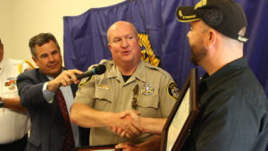 Washington County Sheriff Cory Pulsipher congratulates Joe Hamblin during an award ceremony at the American Legion Post 90 in St. George, Utah, May 25, 2016 | Photo by Don Gilman, St. George News