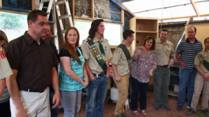 Boy Scouts Jason Stirling (L) and Jesse Wilson gather with family members at a ceremony honoring five young men who had achieved the rank of Eagle Scout, Leeds, Utah, May 28, 2016 | Photo by Don Gilman, St. George News