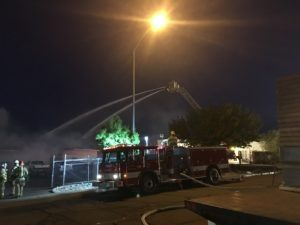 St, George fire crews responded to two fires Monday morning, one at Albertsons on Dixie Drive and the other at the Frito Lay warehouse where authorities worked all morning to get the fire out. St. George, Utah, May 30, 2016 | Photo by Mike Cole, St. George News
