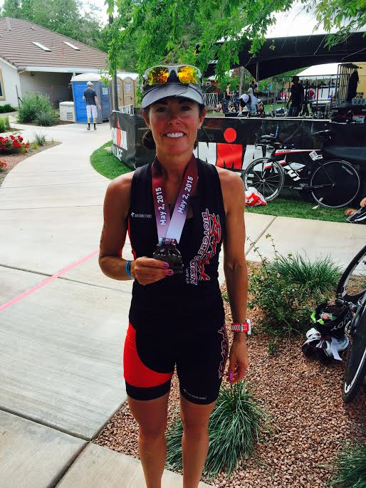 Tara Snow poses with her finisher's medal for the Ironman 70.3 St. George, St. George, Utah, May 2, 2015 | Photo courtesy of Tara Snow, St. George News