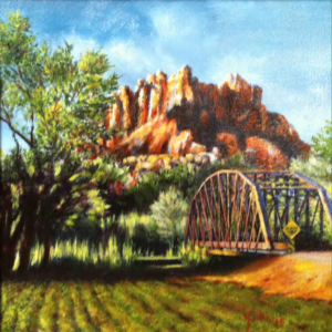 A painting of the historic Rockville Bridge by artist Jodi McGregor will be on display at the Canyon Community Center in Springdale, Utah. Date not specified | Image courtesy of the Historic Rockville Bridge Fundraising Committee, St. George News