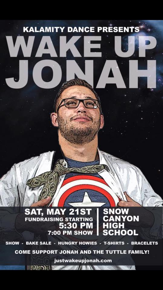 "Event poster for ""Wake Up Jonah"" fundraiser for Jonah Tuttle put on by Kalamity & Kaos Crew, also billed as ""Kalamity is Dancing for the Captain."" 