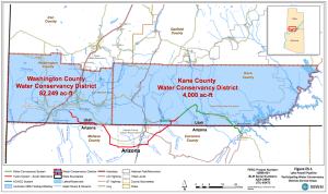 A proposed route for the Lake Powell Pipeline | Image courtesy Federal Energy Regulatory Commission, St. George News