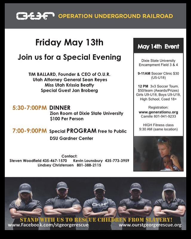 Flier for the event featuring Tim Ballard and others being held on the campus of Dixie State University | Courtesy of OUR St. George Rescue, St. George News