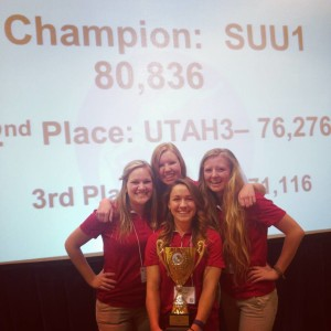 Winners of the Quiz Bowl: Brittany Goldberg, Jessie Smith, Jessi Thomson, and Ashley Torok, Date and Location not given | Photo courtesy of Southern Utah University, St. George News