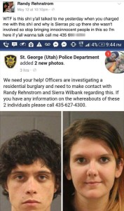 A screenshot of a Facebook post made by Randy Rehnstrom May 12 in response to the St. George Police Department's attempt to locate him, St. George News