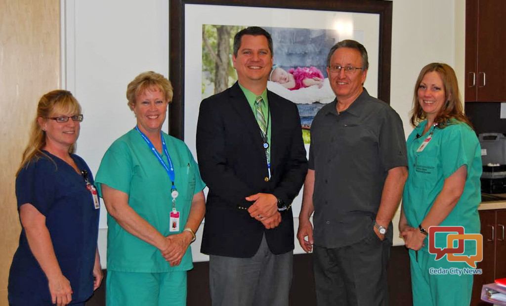 L-R: Cedar City Hospital women and newborn staff registered nurse Lisa Arnhart; licensed practical nurse Sherry Allen; Intermountain Foundation at Cedar City Hospital's Major Gifts Officer Michael France; Rocky Mountain Power Regional Business Manager Tom Heaton; Cedar City Hospital women and newborns registered nurse Annie Gibson. Cedar City, Utah, circa May 2016 | Photo courtesy of Rocky Mountain Power, St. George News