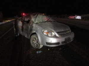 A rollover on SR-18 killed an 18-year-old Dixie High School student and left his girlfriend critically injured after the teens were ejected from the car, Dammeron Valley, Utah, May 22, 2016 | Photo courtesy of Utah Highway Patrol, St. George News