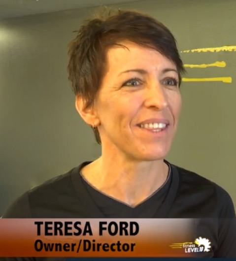 Teresa Ford, owner and director, Fitness Level 10, St. George, Utah, February 2016   Photo from Fitness Minute Video, St. George News