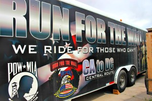 "The Vietnam Veterans of America Chapter 961 of Southern Utah take the merchandise trailer pictured with them on the ""Run for the Wall"" from California to Washington, D.C. Doug Hunt, second vice president of the local chapter, has driven the trailer nine years on the annual run. Washington, Utah, May 7, 2016 