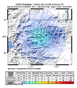 Area where Wednesday's earthquake was felt | Image courtesy of University of Utah Seismic Station, St. George News