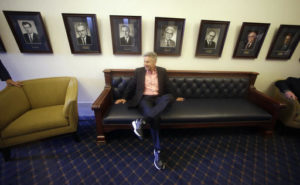 """In this May 18, 2016 file photo, Libertarian presidential candidate, former New Mexico Gov. Gary Johnson waits to speak with legislators at the Utah State Capitol in Salt Lake City. He has virtually no money, no strategy to compete in battleground states and no plan to stop talking about his drug use. Yet with the Republican Party facing the prospect of a Donald Trump presidency, Libertarian presidential hopeful Gary Johnson could be a factor in 2016. The former two-term New Mexico governor, a Republican businessman perhaps best known for his years-long push to legalize marijuana, has a sobering message for a """"never-Trump"""" movement desperately seeking a viable alternative.