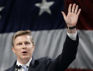 FILE - Gubernatorial candidate Jonathan Johnson speaks during the Utah Republican Party 2016 nominating convention in Salt Lake City. Johnson is challenging Gov. Gary Herbert, who said he is dropping his support of Common Core education standards as he faces a re-election fight for his party's nomination. Herbert said in a letter to the State Board of Education Wednesday, May 4, 2016, that he shares the concerns of Common Core opponents and instead wants new, Utah-specific standards, Salt Lake City, Utah, photo taken April 23, 2016   AP Photo/Rick Bowmer, St. George News