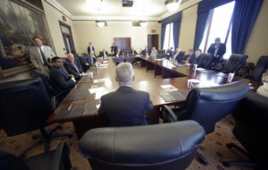 """FILE - In this May 18, 2016 file photo, Libertarian presidential candidate, former New Mexico Gov. Gary Johnson speaks with legislators at the Utah State Capitol in Salt Lake City. He has virtually no money, no strategy to compete in battleground states and no plan to stop talking about his drug use. Yet with the Republican Party facing the prospect of a Donald Trump presidency, Libertarian presidential hopeful Gary Johnson could be a factor in 2016. The former two-term New Mexico governor, a Republican businessman perhaps best known for his years-long push to legalize marijuana, has a sobering message for a """"never-Trump"""" movement desperately seeking a viable alternative.