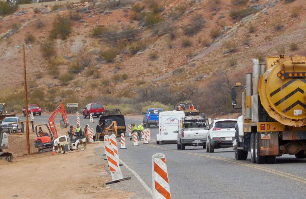Construction on old Highway 91 caused minor delays as utility work was completed before reconstruction of the road began, Santa Clara, Utah, Dec. 9, 2015 | Photo by Julie Applegate, St. George News