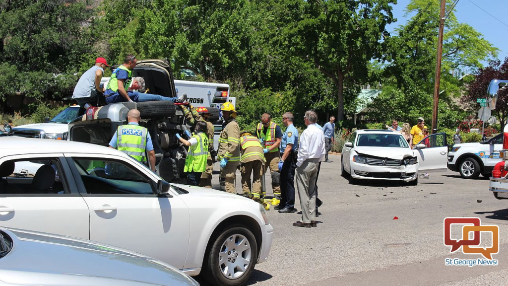 Suv Knocked On Its Side After Running Stop Sign 2